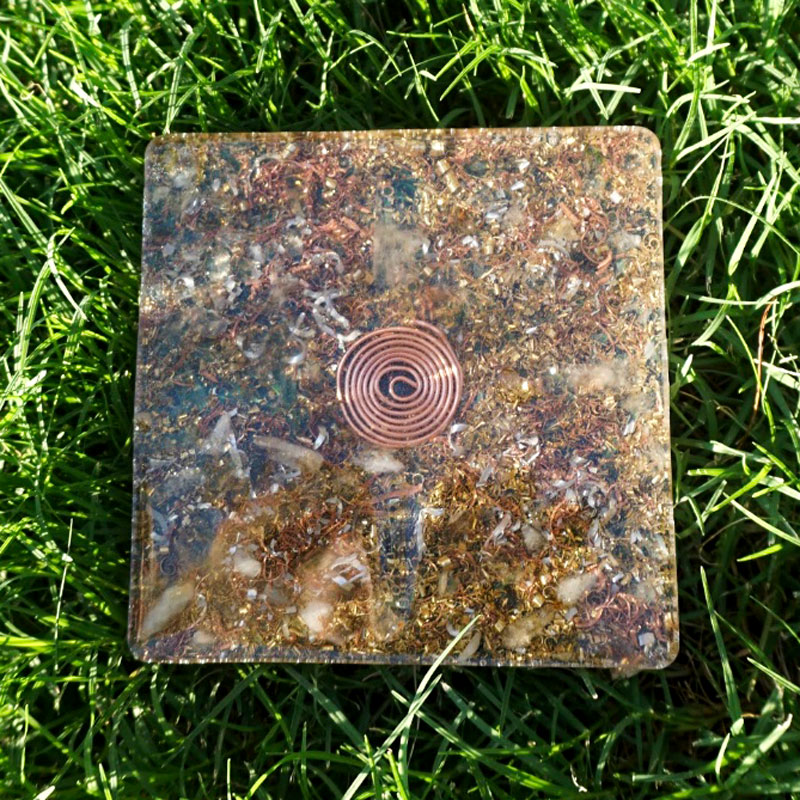 Orgonite Copper Quartz Coaster by Vibernation