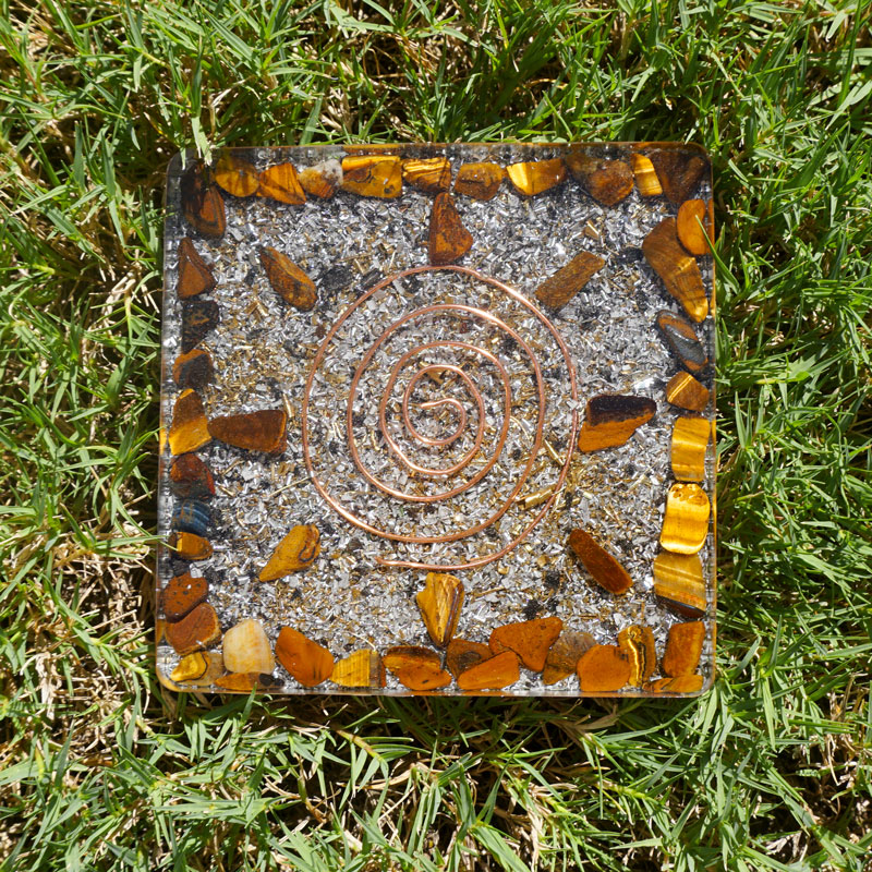 Orgonite Copper Tigers Eye Coaster by Vibernation
