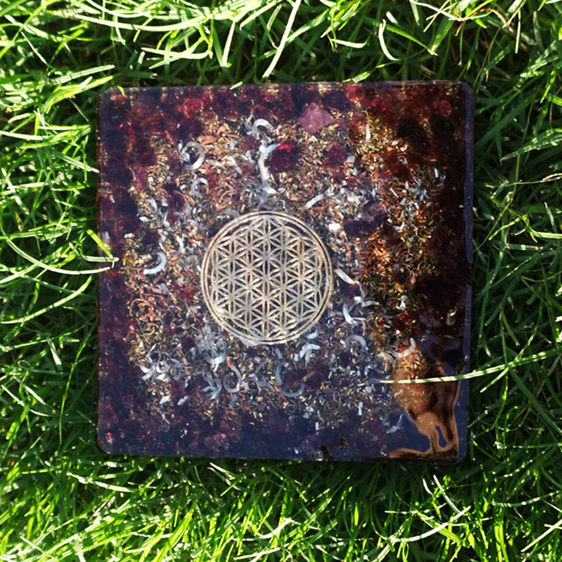 Orgonite Flower of Life Garnet Coaster by Vibernation