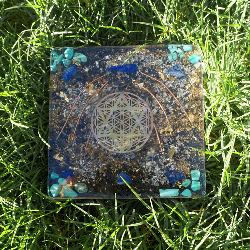 Orgonite Lapis Turquoise Coaster by Vibernation
